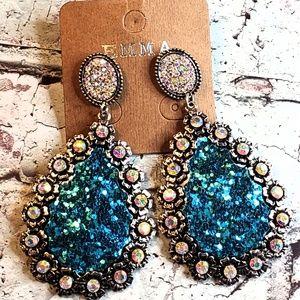 Blue glitter & AB crystal rhinestone glam earrings